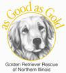 As Good as Gold-Golden Retriever Rescue of No. IL. (Woodridge, Illinois) logo with a golden retriever, tagline 'As good as gold'